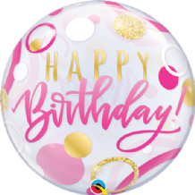 "Birthday Pink & Gold Dots Bubble Balloon (22"") 1pc"